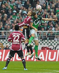 30.10.2010, Weserstadion, Bremen, GER, 1. FBL, Werder Bremen vs 1. FC Nürnberg / Nuernberg, im Bild Ilkay Gündogan / Guendogan (Nuernberg #22) , Julian Schieber (Nuernberg #23), Sebastian Prödl / Proedl (Bremen #15)  EXPA Pictures © 2010, PhotoCredit: EXPA/ nph/  Frisch+++++ ATTENTION - OUT OF GER +++++