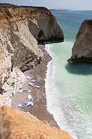 Sup riders at Freshwater Bay, Isle of Wight.