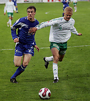 Fotball , <br /> Adeccoligaen  6  Mai  2007 , Briskeby Gressbane , <br /> HamKam  v  FK Haugesund  3-3<br /> <br /> Foto:Dagfinn Limoseth - Digitalsport<br /> <br /> Cameron Weaver, Haugesund  og Juha Pasoja , HamKam