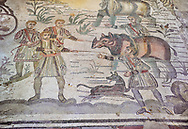 Ambulatory of the Great Hunt Roman mosaic, rhino being loaded onto a ship, room no 28, at the Villa Romana del Casale, first quarter of the 4th century AD. Sicily, Italy. A UNESCO World Heritage Site.<br /> <br /> The Great Hunt ambulatory is around 60 meters long (200 Roman feet) and connects the master's northern apartments with the triclinium in the south. The door in the centre of the the Great Hunt ambulatory leads to audience hall. <br /> <br /> The Great Hunt Roman mosaic depicts African animals being hunted and put onto ships to be taken to the Colosseum. .<br /> <br /> If you prefer to buy from our ALAMY PHOTO LIBRARY  Collection visit : https://www.alamy.com/portfolio/paul-williams-funkystock/villaromanadelcasale.html<br /> Visit our ROMAN MOSAIC PHOTO COLLECTIONS for more photos to buy as buy as wall art prints https://funkystock.photoshelter.com/gallery/Roman-Mosaics-Roman-Mosaic-Pictures-Photos-and-Images-Fotos/G00008dLtP71H_yc/C0000q_tZnliJD08