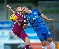 Arbroath's Ryan Wallace and Montrose Sean Dillon. half time : Arbroath 1 v 0 Montrose, Scottish Football League Division One played 10/11/2018 at Arbroath's home ground, Gayfield Park.