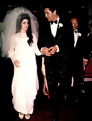Singer Elvis Presley and Priscilla Ann Beaulieu are shown being married in Las Vegas, Nevada, May 1, 1967