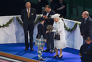 23.07.2014. Glasgow, Scotland. Glasgow Commonwealth Games. The opening ceremony. HRH The Queen recieves a bunch of flowers.