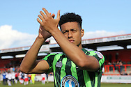 Lyle Taylor forward for AFC Wimbledon (33) has scored 20 goals this season, helping AFC Wimbledon seal a play-off position during the Sky Bet League 2 match between Stevenage and AFC Wimbledon at the Lamex Stadium, Stevenage, England on 30 April 2016. Photo by Stuart Butcher.