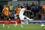 Roque Mesa of Swansea city (R) takes a shot at goal. Pre-season friendly match, Barnet v Swansea city at the Hive in London on Wednesday 12th July 2017.<br /> pic by Steffan Bowen, Andrew Orchard sports photography.