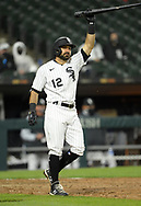 CHICAGO - APRIL 08:  Adam Eaton #12 of the Chicago White Sox reacts after lining out hard to the first baseman during the 2021 White Sox home opener against the Kansas City Royals on April 8, 2021 at Guaranteed Rate Field in Chicago, Illinois.  (Photo by Ron Vesely) Subject:  Adam Eaton