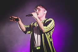 """April 30, 2019 - Milano, Italy - The British singer/songwriter Moss Kena performing live on stage at the """"Fabrique"""" Club in Milan, opening for the Rita Ora's """"Phoenix World Tour"""" 2019. (Credit Image: © Alessandro Bosio/Pacific Press via ZUMA Wire)"""