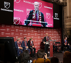 Oct 21, 2019; Sacramento, CA, USA; Sacramento Mayor Darrell Steinberg addresses the crowd during the announcement that Major League Soccer has award an expansion team to Sacramento, at The Bank. Mandatory Credit: D. Ross Cameron-USA TODAY Sports