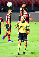 SAO PAULO, BRAZIL - FEBRUARY 25: Rodolpho Toski Brasilian Referee reacts ,during the Brasileirao Serie A 2020 match between Sao Paulo FC and CR Flamengo at Morumbi Stadium on February 25, 2021 in Sao Paulo, Brazil. (Photo by MB Media/BPA)