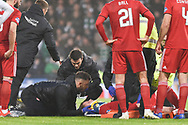 Gary Mackay-Steven is stretchered off during the Betfred Cup Final between Celtic and Aberdeen at Hampden Park, Glasgow, United Kingdom on 2 December 2018.