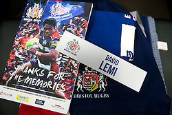 David Lemi features on the matchday programme of departing players before his 140th and last appearance for the club - Rogan/JMP - 13/04/2018 - RUGBY UNION - Ashton Gate Stadium - Bristol, England - Bristol Rugby v Doncaster Knights - Greene King IPA Championship.
