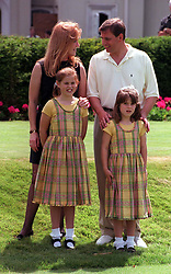 File photo dated 20/07/1998 of the Duke and Duchess of York and their children Beatrice (left) and Eugenie at a pro-celebrity golf tournament at Wentworth. Buckingham Palace has announced that Princess Eugenie has become engaged to Jack Brooksbank.
