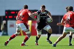 Dave Ewers (Exeter Chiefs) takes on the London Welsh defence - Photo mandatory by-line: Patrick Khachfe/JMP - Mobile: 07966 386802 06/09/2014 - SPORT - RUGBY UNION - Oxford - Kassam Stadium - London Welsh v Exeter Chiefs - Aviva Premiership