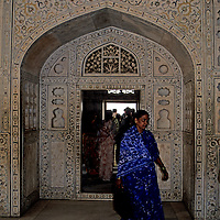 Asia, India, Agra. Woman in blue sari at the Agra Fort.