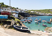Fishing boats in the harbour at Coverack, Lizard Peninsula, Cornwall, England, UK
