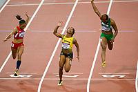 LONDON OLYMPIC GAMES 2012 - OLYMPIC STADIUM , LONDON (ENG) - 04/08/2012 - PHOTO : VINCENT CURUTCHET / KMSP / DPPI<br /> ATHLETICS - WOMEN 100M - SHELLY-ANN FRASER-PRYCE (JAM) / WINNER GOLD MEDAL