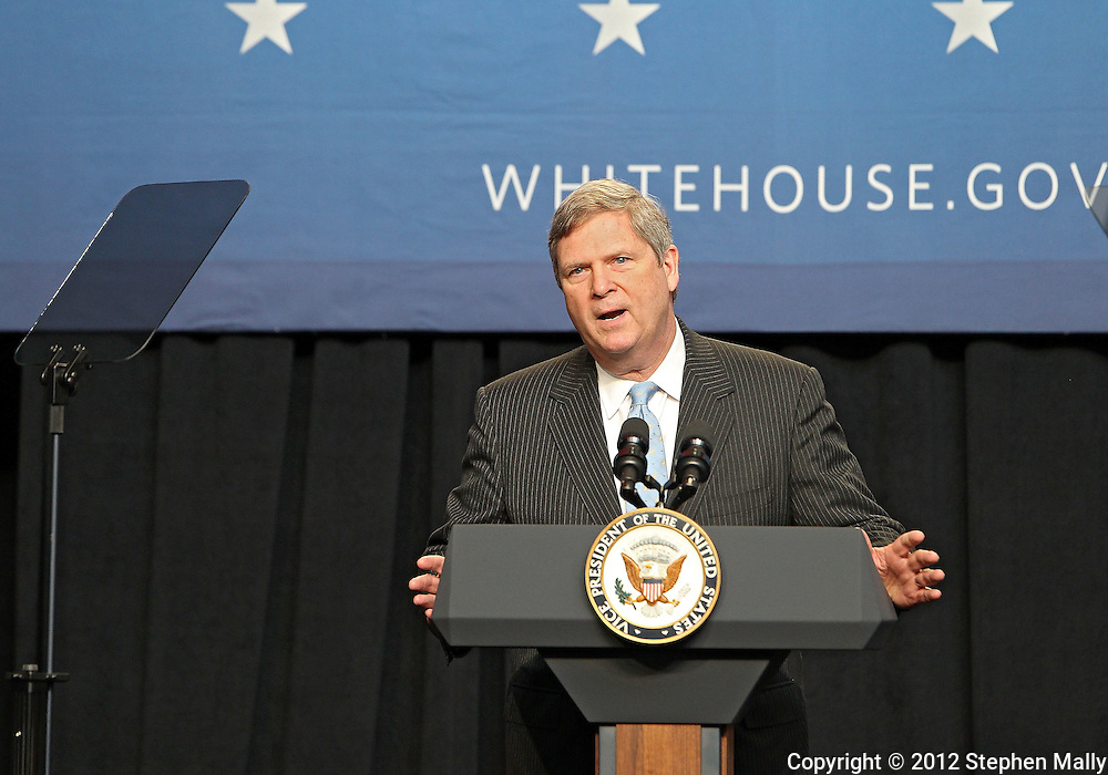 Secretary of Agriculture Tom Vilsack introduces Vice President Joe Biden at Iowa State University in Ames, Iowa on Thursday, March 1, 2012.