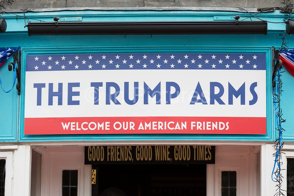 The Trump Arms Pub formerly known as The Jameson Pub in Hammersmith, west London is seen decorated with American flags and banners for a party on July 13, 2018 in London, England, celebrating President Donald Trumps visit to the UK.