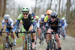 Dani King on the charge across the cobbles at the 127 km Omloop van het Hageland on February 26th 2017, starting and finishing in Tielt Winge, Belgium. (Photo by Sean Robinson/Velofocus)