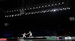 WUXI, July 27, 2018  Caroline Queroli (L) of France fights with Sofia Pozdniakova of Russia during the women's sabre team final between France and Russia at the Fencing World Championships in Wuxi, east China's Jiangsu Province, July 27, 2018. France beat Russia 45-35 and claimed the title of the event. (Credit Image: © Li Bo/Xinhua via ZUMA Wire)