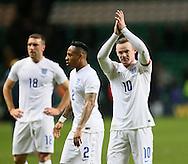 England's Wayne Rooney celebrates at the final whistle<br /> <br /> - International Friendly - Scotland vs England- Celtic Park - Glasgow - Scotland - 18th November 2014  - Picture David Klein/Sportimage