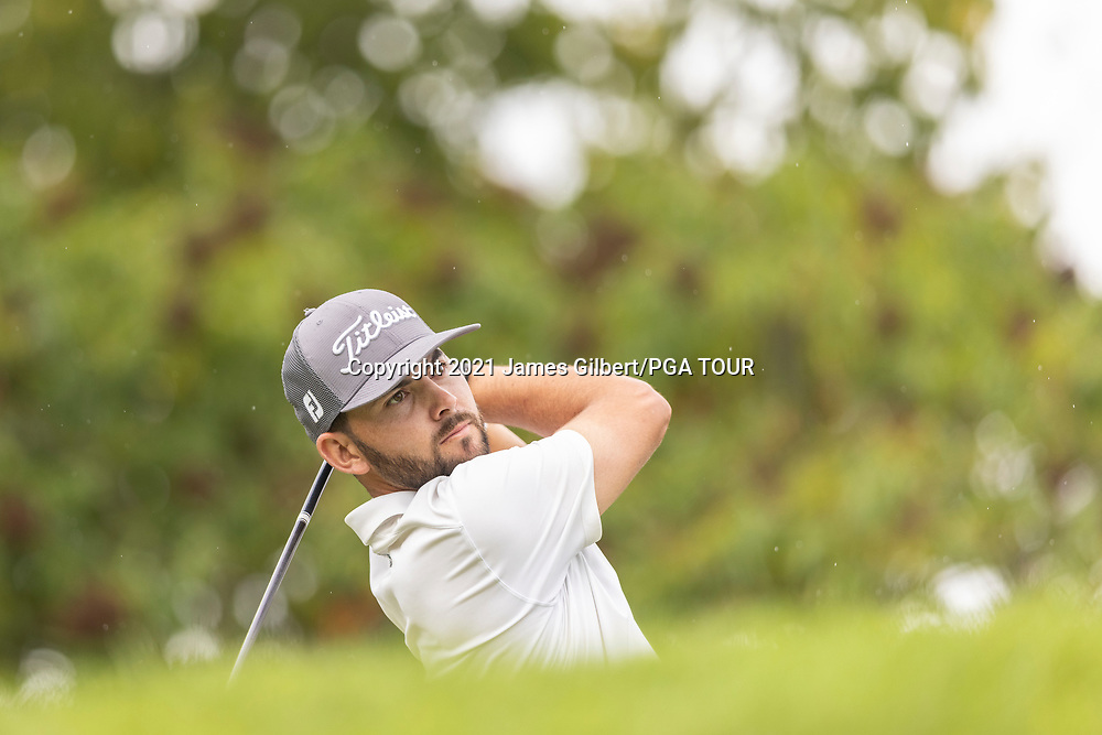 NEWBURGH, IN - SEPTEMBER 04: Hayden Buckley plays his shot from the 3rd tee during the third round of the Korn Ferry Tour Championship presented by United Leasing and Financing at Victoria National Golf Club on September 4, 2021 in Newburgh, Indiana. (Photo by James Gilbert/PGA TOUR via Getty Images)