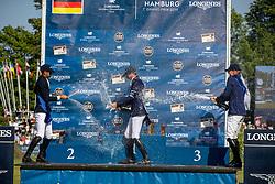 FREDRICSON Peder (SWE), DEUSSER Daniel (GER), NASSAR Nayel (EGY)<br /> Hamburg - 90. Deutsches Spring- und Dressur Derby 2019<br /> LONGINES GLOBAL CHAMPIONS TOUR Grand Prix of Hamburg<br /> CSI5* Springprüfung mit Stechen <br /> Wertungsprüfung für die LGCT, 6. Etappe<br /> 01. Juni 2019<br /> © www.sportfotos-lafrentz.de/Stefan Lafrentz