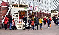 Fans queue for refreshments before the Sky Bet Championship match at the bet365 Stadium, Stoke.