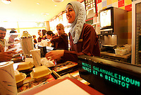 """the muslim fast food restaurant """"Beurger King Muslim"""" in Clichy-Sous-Bois, a suburb of Paris.<br />They offer """"halal"""" (allowed for muslims) meat products, such as burgers and fried chicken.<br /><br />For a journal by Craig Smith<br /><br />© Owen Franken for the NY Times"""
