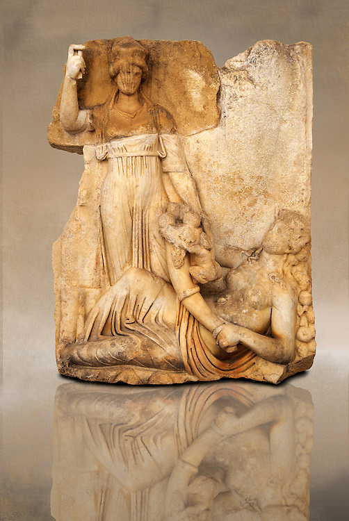 Photo of Roman releif sculpture of Roma & Ge [ Earth ] from  Aphrodisias, Turkey, Images of Roman art bas releifs. Buy as stock or photo art prints. art .<br /> <br /> If you prefer to buy from our ALAMY STOCK LIBRARY page at https://www.alamy.com/portfolio/paul-williams-funkystock/greco-roman-sculptures.html . Type -    Aphrodisias     - into LOWER SEARCH WITHIN GALLERY box - Refine search by adding a subject, place, background colour, museum etc.<br /> <br /> Visit our ROMAN WORLD PHOTO COLLECTIONS for more photos to download or buy as wall art prints https://funkystock.photoshelter.com/gallery-collection/The-Romans-Art-Artefacts-Antiquities-Historic-Sites-Pictures-Images/C0000r2uLJJo9_s0