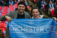 Manchester City fans during the The FA Cup semi-final match between Manchester City and Brighton and Hove Albion at Wembley Stadium, London, England on 6 April 2019.
