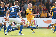 Mike Flynn of Newport takes a shot at goal. Skybet football league two match, Newport county v Rochdale at Rodney Parade in Newport, South Wales on Saturday 3rd May 2014.<br /> pic by Mark Hawkins, Andrew Orchard sports photography.