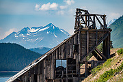 Ruins of Venus Silver Mine on Windy Arm of Tagish Lake, Yukon, Canada. The 98-mile/158-km South Klondike Highway (Skagway-Carcross Road) connects Skagway over White Pass via British Columbia to the Alaska Highway in the Yukon southeast of Whitehorse.