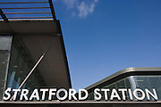 Architecture of Stratford station in east London, the rail transport hub for the 2012 Olympics.