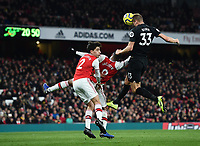Football - 2019 / 2020 Premier League - Arsenal vs. Brighton & Hove Albion<br /> <br /> Brighton & Hove Albion's Dan Burn wins the header at the corner that leads to Adam Webster scoring the opening goal, at The Emirates.<br /> <br /> COLORSPORT/ASHLEY WESTERN
