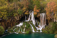 Waterfalls and autumn colours, Milanovac lake, Upper Lakes, Plitvice National Park, Croatia
