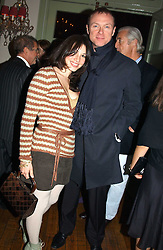 GARY KEMP and his wife LAUREN at a party to celebrate the publication of Style by interior designer Kelly Hoppen held at 50 Cheyne Walk, London on 10th November 2004.<br />
