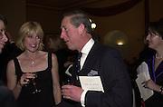Selina Scott and Prince Charles. Farm Aid. Royal Albert Hall. 18 April 2001. © Copyright Photograph by Dafydd Jones 66 Stockwell Park Rd. London SW9 0DA Tel 020 7733 0108 www.dafjones.com