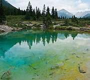 Hike to colorful blue-green and yellow Ink Pots along Johnston Creek, in Banff National Park, Alberta, in the Canadian Rocky Mountains. Cold spring water percolates up through sand and river gravel to form five blue-green pools. This is part of the big Canadian Rocky Mountain Parks World Heritage Site declared by UNESCO in 1984. Stitched from 4 images.
