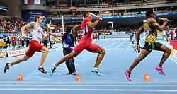 08.03.2014, Ergo Arena, Sopot, POL, IAAF, Leichtathletik Indoor WM, Sopot 2014, im Bild 4x400 m, Errol Nolan (JAM), Clayton Parros (USA), Kacper Kozlowski (POL) // 4x400 m, Errol Nolan (JAM), Clayton Parros (USA), Kacper Kozlowski (POL)  during day two of IAAF World Indoor Championships Sopot 2014 at the Ergo Arena in Sopot, Poland on 2014/03/08. EXPA Pictures © 2014, PhotoCredit: EXPA/ Newspix/ Tomasz Jastrzebowski<br /> <br /> *****ATTENTION - for AUT, SLO, CRO, SRB, BIH, MAZ, TUR, SUI, SWE only*****
