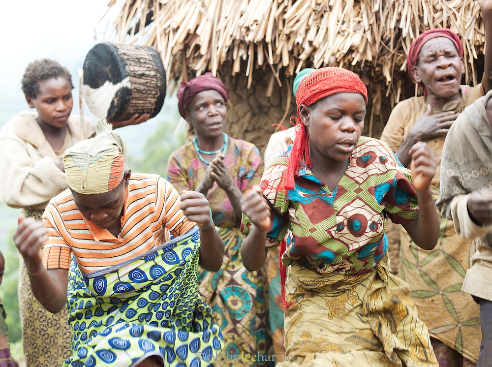 Women of a Batwa tribe performing at a welcome dance. The Batwa are a pygmy people who were the oldest recorded inhabitants of the Great Lakes region of central Africa. South West Uganda