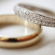 The bride and groom's rings are seen in this detail, close up shot in Columbia, S.C. ©Travis Bell Photography
