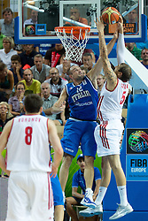 04.09.2013, Arena Bonifka, Koper, SLO, Eurobasket EM 2013, Russland vs Italien, im Bild Dmitry Sokolov #5 of Russia shoots against Marco Cusin #12 of Italy // during Eurobasket EM 2013 match between Russia and Italy at Arena Bonifka in Koper, Slowenia on 2013/09/04. EXPA Pictures © 2013, PhotoCredit: EXPA/ Sportida/ Matic Klansek Velej<br /> <br /> ***** ATTENTION - OUT OF SLO *****