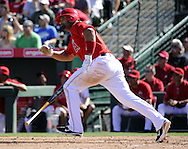 TEMPE, AZ - MARCH 06:  Albert Pujols #5 of the Los Angeles Angels of Anaheim bats against the Chicago White Sox on March 6, 2012, 2012 at Tempe Diablo Stadium in Tempe, Arizona. The Angels defeated the White Sox 6-2.  (Photo by Ron Vesely)  Subject:  Albert Pujols