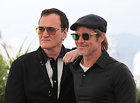 Director Quentin Tarantino and Brad Pitt at Once Upon A Time... In Holywood film photo call at the 72nd Cannes Film Festival, Wednesday 22nd May 2019, Cannes, France. Photo credit: Doreen Kennedy
