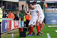 Goal, Brett Pitman of Portsmouth scores, Wycombe Wanderers 0-2 Portsmouth during the EFL Sky Bet League 1 match between Wycombe Wanderers and Portsmouth at Adams Park, High Wycombe, England on 6 April 2019.