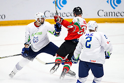 Blaz Gregorc of Slovenia, Csanad Erdely of Hungary and Miha Zajc of Slovenia during ice hockey match between Hunngary and Kazakhstan at IIHF World Championship DIV. I Group A Kazakhstan 2019, on May 3, 2019 in Barys Arena, Nur-Sultan, Kazakhstan. Photo by Matic Klansek Velej / Sportida