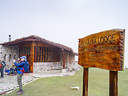 Hikers prepare to leave Wayra Lodge a day after hiking over Salkantay Pass, Peru.