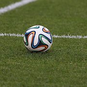 The Adidas 'Brazuca' FiFA World Cup 2014 match ball during the Portugal V Ireland International Friendly match in preparation for the 2014 FIFA World Cup in Brazil. MetLife Stadium, Rutherford, New Jersey, USA. 10th June 2014. Photo Tim Clayton