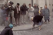 Movie set: Havel Story. The Beggars' Opera. Jiri Menzel, director (In black parka, cap) Prague, Czech Republic.